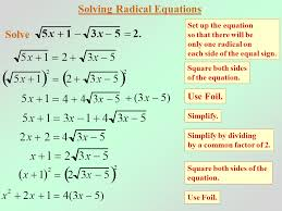 algebra 2 radical equations and