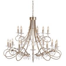 elstead lighting christina 18 light chandelier in silver gold finish with crystal drops