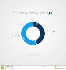 Pie Chart 45 45 55 Percent Blue Pie Chart Symbol Percentage Vector