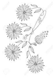 手描き落書きの花塗り絵の黒と白のイラストベクトル白黒花図面
