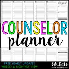 School Counselor Planner 2018 2019 Free Yearly Updates By Edukate