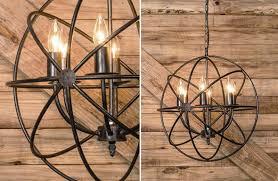large black metal industrial style sphere chandelier