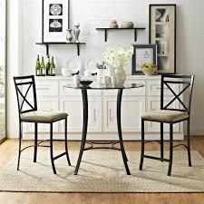 dorel living valerie 3 piece counter height glasetal dining set black beige