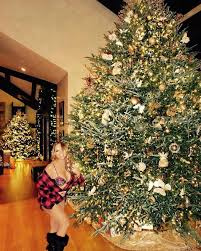 Scantily clad Mariah Carey poses next to massive Christmas tree in a bra  and boots