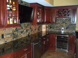 Kitchen With Slate Floor Cherry Cabinets Granite Countertops Natural Slate Backsplash