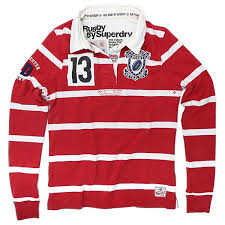 gloucester las superdry rugby shirt brawl stripe red