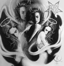реализм девушки ангел и демон подойдут для тату на плече или