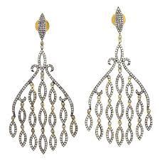gold and silver chandelier designer pave diamond chandelier earrings for women gold and silver leaf chandelier