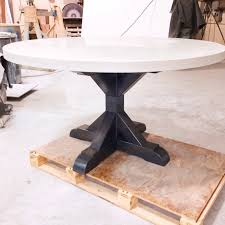54 round concrete table top with gray ash pedestal base