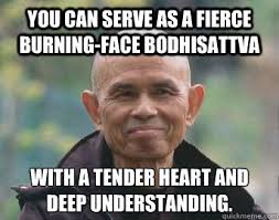 You can serve as a fierce burning-face bodhisattva with a tender ... via Relatably.com