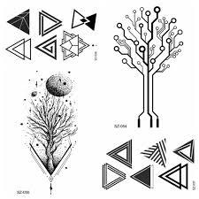 маленькие треугольные тотемные водонепроницаемые татуировки для женщин