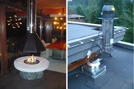 fire pit with suspended hood
