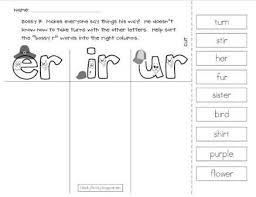 Phonics worksheets for kids including short vowel sounds and long vowel sounds for preschool and kindergarden. Fabulous Er Ir Urhonics Worksheets 3rd 2nd Grade Freerintable Jaimie Bleck
