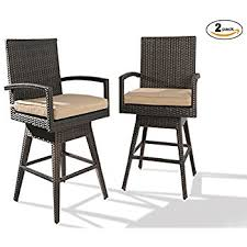 ulax furniture 2pack outdoor patio furniture allweather brown wicker swivel bar stool with cushion patio swivel bar stools37