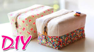 diy purse bag tutorial zipper pouch makeup bag easy