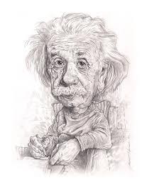 Albert Einstein Black And White Drawing Sketch Vector Cartoon