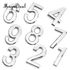 9 pieces self adhesive 3d number door number plaque silver numbers digit stickers self