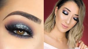 black and silver glitter halo smokey eye new years eve makeup tutorial