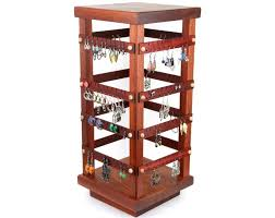 Earring Stands And Displays Awesome Spinning FourSided Finely Crafted Wood Earring Holder Displays For