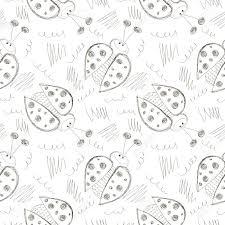 昆虫とシームレスなベクトル パターンかわいい手は白の背景で背景にてんとう虫フリーハンド