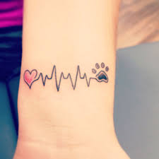 Heart Heartbeat Dog Paw Tattoo On Wrist Dog Dogs Puppy Love Ideas