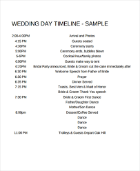 Amazing Sample Wedding Day Timeline 6 Template Free Example