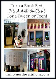 turning a bunk bed into a walk in closet for a tween or teen room