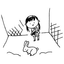 うさぎの世話をする女の子のフリーイラスト フリーイラストクラシック