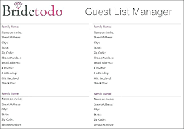 Excel Guest List Free Wedding Guest List Template Vendor Excel Invite For 2013