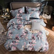 2018 pink fl light grey bedding set queen king size egyptian cotton fabric duvet cover flat sheet pillow cases luxury duvet covers girl bedding from