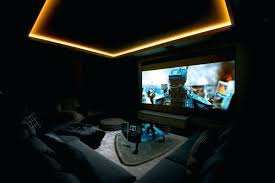 dark media room. Yellow Neon Lighting Ceiling With Dark Media Room Furniture Options Home Theater Design Ideas For Men .