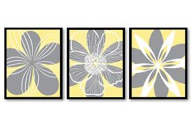 Yellow And Gray Kitchen Decor Yellow White Grey Gray Flower Print Set Of 3 Abstract Art