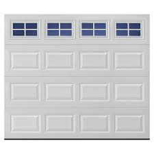 pella traditional 108 in x 84 in white single garage door with windows