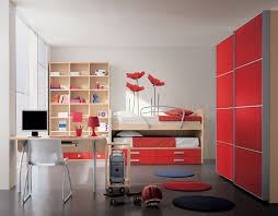 teenage bedroom design ideas with study area and practical book shelves interior ideas dazzling red cabinets