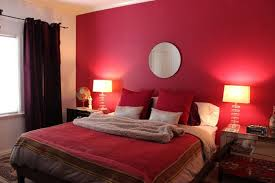 contemporary-bedroom-with-red-wall-paint-circle-mirror-above-bed-red -pillows-two-table-lamp-and-red-quilt | DWEEF.COM - Bright and Attractive  Interior ...
