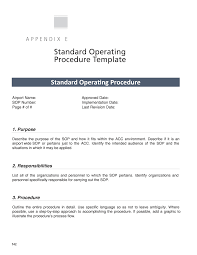 Standard Operating Procedure For Design Department Appendix E Standard Operating Procedure Template