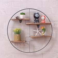 round wall unit retro wood industrial style metal shelf rack storage black for