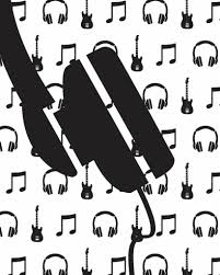 Behang Muziek Met Gitaar En Koptelefoon Zwart Wit Tinklecherry
