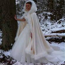 <b>Champagne Bridal Cloak Winter</b> Hooded Faux Fur Trim Satin ...