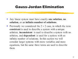 chapter 4 systems of linear equations matrices 2 gauss jordan elimination