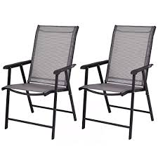 pack patio chairs metal frame grey