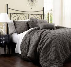 Metal Bed Bedroom Cream Wall Color And Textured Grey Comforter For Small Bedroom