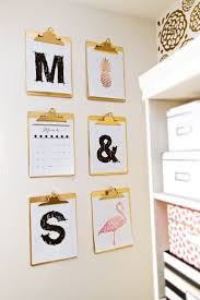 gold and pink craft studio and organizing ideas artistic home office track