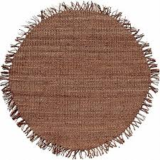 jute natural brown hand woven round rug with fringe