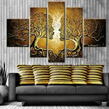 >handpainted wall art home decoration tree of life pictures modern  handpainted wall art home decoration tree of life pictures modern abstract 5 piece oil painting on