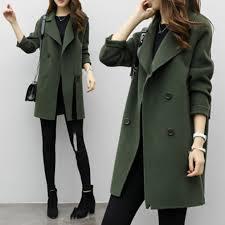 women fashion double ted long trench coat jacket wool overcoat parka al