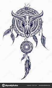 What Native American Tribes Use Dream Catchers Bison skull and indian dream catcher tattoo Tribal art Stock 77