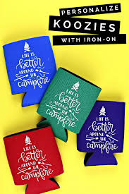 Koozie Design Ideas How To Personalize Koozies With Iron On Vinyl Home Decor Mad