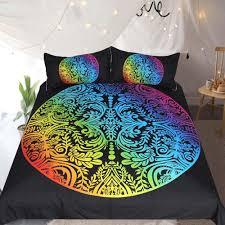 rainbow color bedding leaf printed duvet cover set 3pcs multicolor king