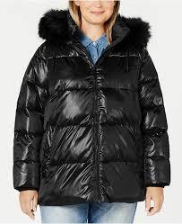 Plus Size High Shine Faux Fur Trim Hooded Puffer Coat